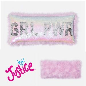 NWT Justice Girl Power Pink Decorative Pillow